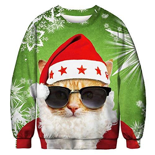 TEBAISE Unisex Damen 3D Gedruckt Langarm Coole Pullover Weihnachten T-Shirt Weihnachtspullover 3D...