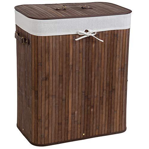 TecTake Robuster Bambus Wäschekorb faltbar mit Deckel und herausnehmbarem Wäschesack - Diverse Modelle - (100L braun | Nr. 401833)