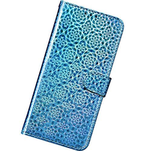 Urhause kompatibel med Huawei Honor 7A, Ultra Slim MonColour Laser Färgglad Läderväska Skal Skyddskåpa Lanyard Stöttålig Mobilskal Himmelsblå