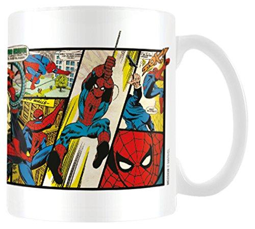 Marvel MG23438 8 x 11,5 x 9,5 cm Retro Hombre araña Paneles Taza de cerámica, Multi-Color