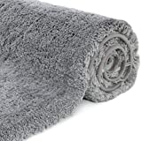 NC Alfombrilla de baño Absorbente de Agua Extra Gruesa Alfombra de baño de Microfibra Alfombra de baño Antideslizante Alfombras de Felpa Gruesas Lavables (Gris 40x60 cm)