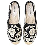 N&W Embroidered Shoes Womens Casual Espadrilles Slip on Breathable Flax Hemp Canvas for Girl Shoes Fashion Embroidery Comfortable Ladies Girls Old Beijing Embroidered Shoes