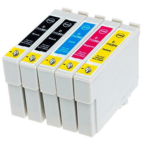 AfiD 5er Set Druckerpatronen zu EPSON T0711 - T0714 für Epson Stylus SX 405, SX-410, SX-415, SX-417, SX-510, SX-515, SX-600, SX-610 und mehr!