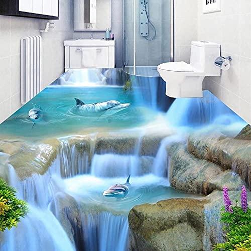 Custom Dolphin 3D suelo pegatina Mural papel tapiz autoadhesivo baño sala de estar decoración del suelo impermeable-300x210cm
