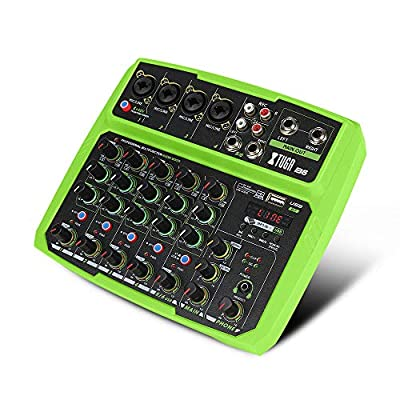 XTUGA B4/6 4/6Channels Audio Mixer Sound Mixing Console with Bluetooth USB Record 48V Phantom Power Monitor Paths Plus Effects Use for home music production, webcast, K song (B6)