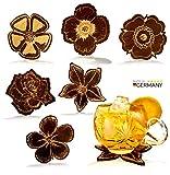 Sottobicchieri NAMASTI per bicchieri in legno in 6 diversi disegni di fiori Sottobicchieri di alta qualità set sottobicchieri in legno decorazione regalo set da bar per tè e vino
