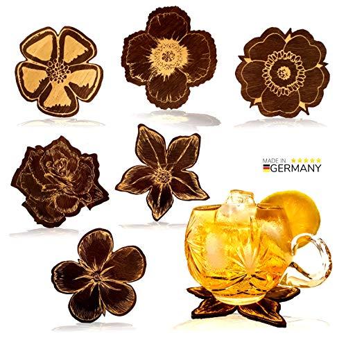 NAMASTI 6 Untersetzer für Gläser, Holz in 6 verschieden Blütendesigns hochwertiges Untersetzer-Set Holzuntersetzer Deko Geschenk Wein Tee Tisch Barset