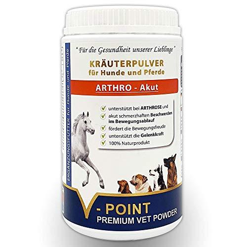 V-POINT ARTHRO Akut bei Gelenksschmerzen Arthrose und akut schmerzhaften Beschwerden - Premium Kräuter-Pulver für Hunde und Pferde mit Teufelskralle Ingwer Hagebutten Weidenrinde (500 g)