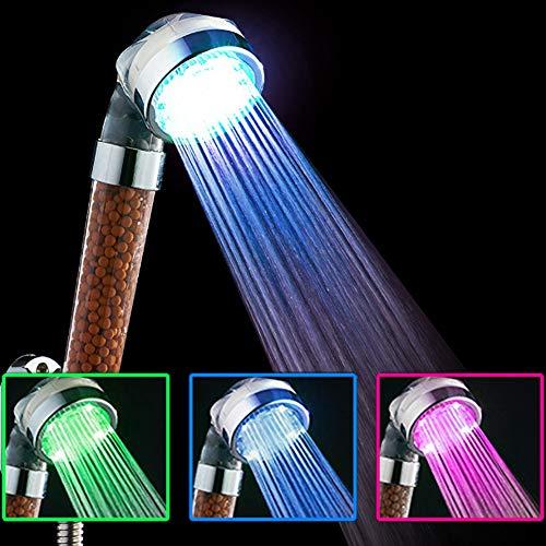 TYSYA hoge druk van de douchekop met 3 kleuren met negatieve filtratie van de ionen, automatische verandering van de lichten overeenkomstig de watertemperatuur.