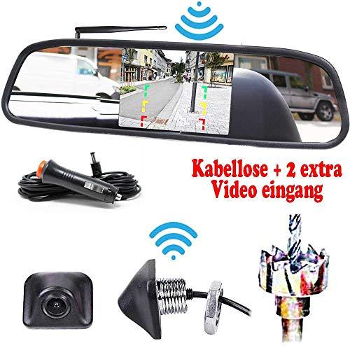 Kabellose Funk Rückfahrkamera für Hinten inkl. 4.3 Zoll Spiegelmonitor - Bis zu 5 Jahre Garantie. Drahtlose Kamera für KFZ PKW Auto, Kleiner Bus, Transporter - Car Rear View Camera