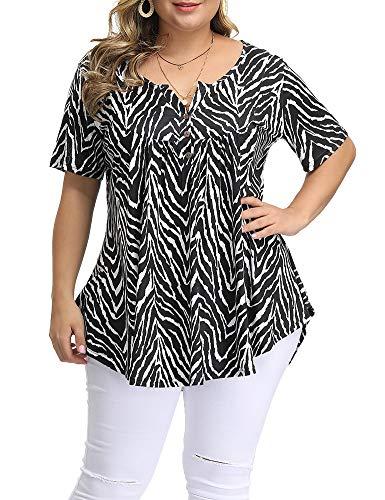 ALLEGRACE Women's Plus Size Floral Blouses Henley V Neck Button Up Tunic Tops Ruffle Flowy Short Sleeve T Shirts P48 Zebra-Stripe Black 2X
