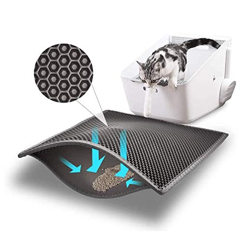 "Bull-o Cat Litter Mat Litter Trapper Size 24"" X 15"", Honeycomb Double-Layer Design Waterproof Urine Proof Material, 2-Layer Sifting Easy Clean..."