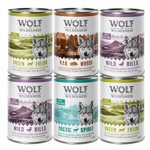 Wolf of Wilderness Erwachsenen-Sparpackung, 24 x 400 g – gemischte Packung, Lamm, Ente, Wildschwein, Rentier