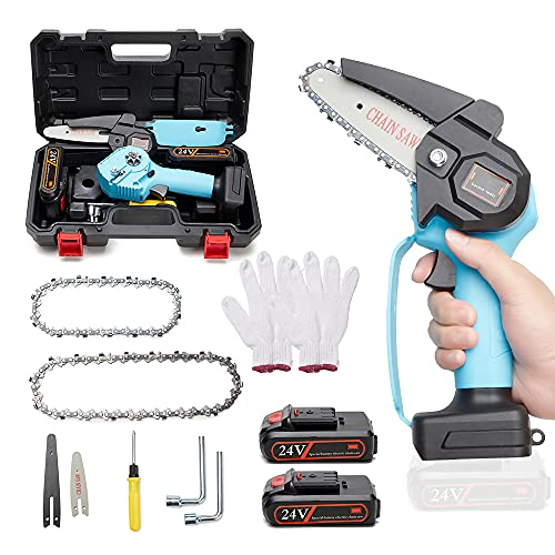 Mini Chainsaw Cordless Power Electric Chainsaw With 2 Batteries 2 Chain 4 Inch Portable Handheld Mini Chainsaw for Wood Cutting, Tree Branch Pruning