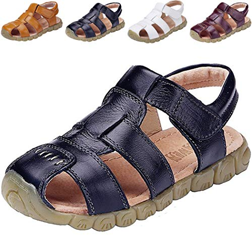 DADAWEN Boy's Girl's Leather Closed Toe Outdoor Sport Sandals