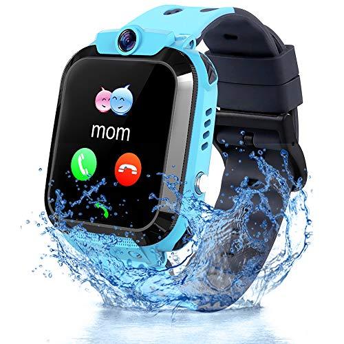 Vannico Reloj Inteligente Niño, Smartwatch para Niños IP68, LBS, Juegos, Llamada, SOS, Cámara, Chat de Voz, Modo de Clase, Reloj Regalo para Niños de 3-12 años (Azul)