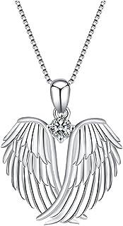 JAWSEU Ängel 3D vingar halsband, halsband hjärtmönster hänge månadssten halsband för kvinnor smycken gåvor hjärta halsban...