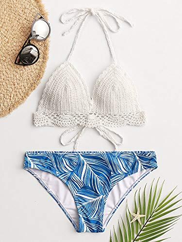 Bañador para mujer con triángulo blanco halter de cuerda, parte superior de ganchillo con estampado de hojas tropicales hawaianas (color: azul, talla: 2)