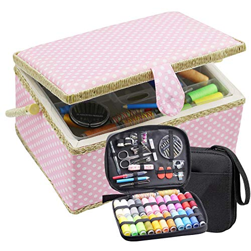 Large Sewing Basket with Sewing Kit, Sewing Box Organizer with Accessories, Sewing Supplies Storage with Sewing Tools Set (Pink)