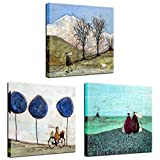 Biuteawal - Vintage Canvas Painting Man Riding Bike Wall Art Lovely Couple and Dog Picture Prints Realism Giclee Decorative Abstract Wall Painting for Home Office Bedroom Decor Ready to Hang