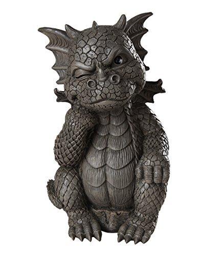 Pacific Giftware Garden Dragon Thinker Dragon Garden Display Decorative Accent Sculpture Stone Finish 10 Inch Tall