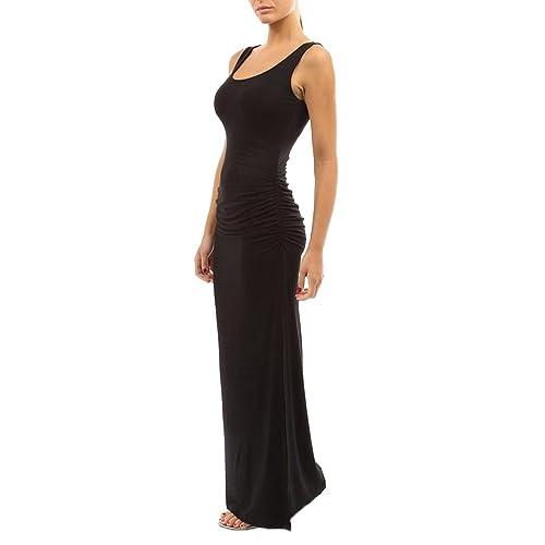 aff5e699c123 SaiDeng Elegante Donna Vestito Lunghi Tubino Senza Maniche Lungo Abito da  Sera Abiti Cocktail Spacco