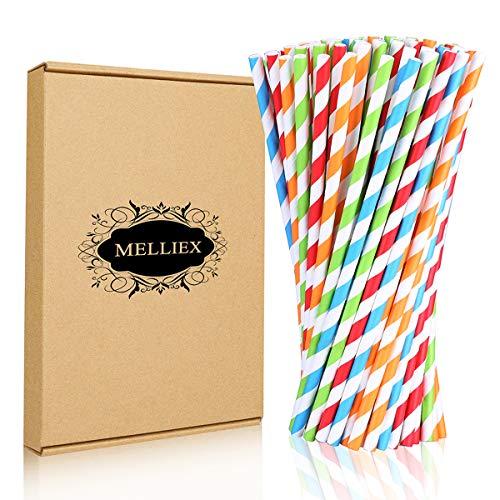 MELLIEX 100 Stück Papier Strohhalme Bio Öko Trinkhalme Abbaubare Einweg Strohhalm Für Geburtstag Hochzeit Dekoration Cocktail, Streifen