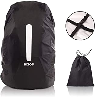 KiZOU Backpack Rain Cover - Upgraded Cross Directional Buckle Belts, with Reflective Stripe and Storage Bag, 190T Nylon Double Layer, 15-70L Compatible