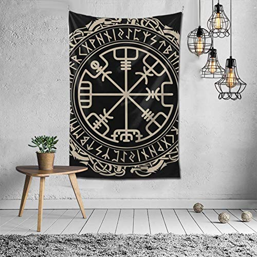 Hippie Black Celtic Viking Design Magical Runic Compass Vegvisir In The Circle Of Norse Runes And Dragons Tattoo DecorativeWall Hanging Tapestry For Dorm Room, Collage Dorm, Apartment Bedding Decor