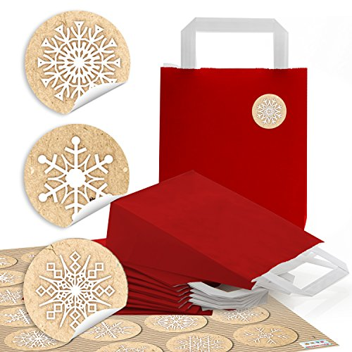 10 petits sacs papier rouges avec poches Papier Anse (18 x 8 x 22 cm) + 24 Beige Fond Blanc autocollants 4 cm Flocons de Neige Glace cristal emballage Give Away Petit cadeau de Noël Noël