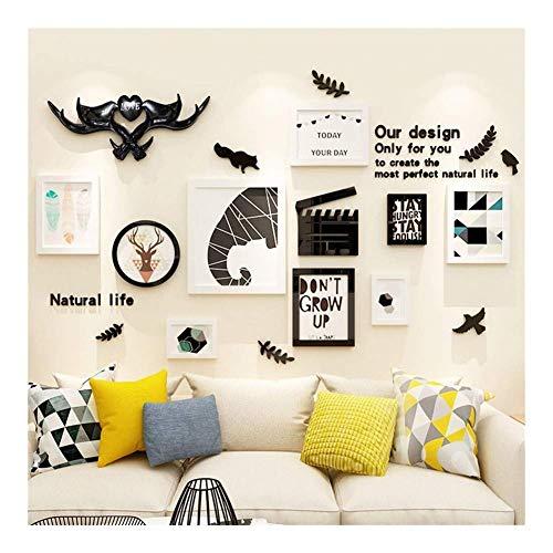 JHSHENGSHI Fotorahmen Kombination 3D Acryl Wandtattoos Abnehmbare Familie Wohnzimmer Schlafzimmer Dekorative Spiegel Wandbehang