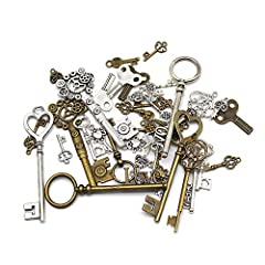 Material: Antique pendants are made of metal - lead safe, environmental friendly. Antique rustic vintage skeleton key, bronze color and silver, size: from 2 cm to 8.2 cm Package Included: 40 x Skeleton Keys, Each key is well made, unique and beautifu...