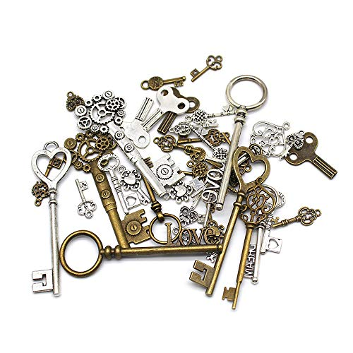 Mila-Amaz 40 Pieces Antique Bronze Vintage Skeleton Key Charms Steampunk Accessories for Handmade Jewelry Making - Bronze, Silver
