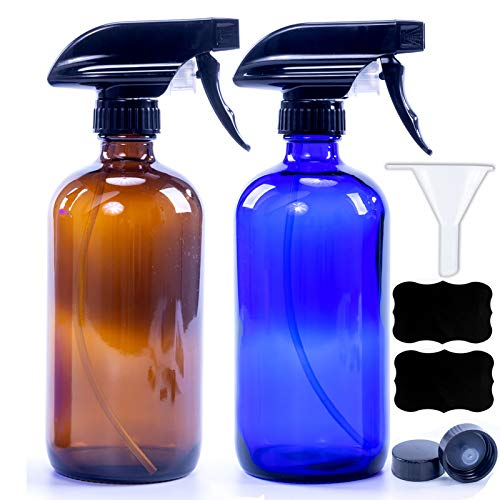 Cobalt Blue&Amber Glass Spray Bottles For Cleaning Solutions,Water Spray Bottle For Hair,16oz Refillable Container For Essential Oils, Aromatherapy, Mist & Stream Trigger Sprayer(2 Pack)