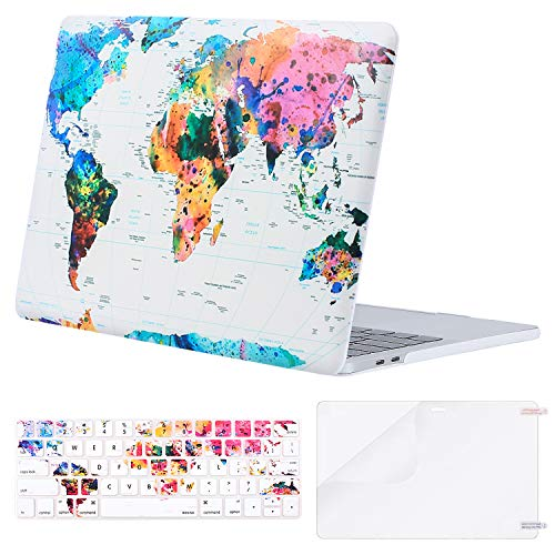 MOSISO MacBook Pro 15 inch Case 2019 2018 2017 2016 Release A1990 A1707, Plastic Pattern Hard Shell & Keyboard Cover & Screen Protector Compatible with MacBook Pro 15 Touch Bar, World Map