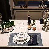 Tischset, Platzsets 6er Set - rutschfest Abwaschbar Tischsets - PVC Hitzebeständig Platzdeckchen - Kommt mit Passendem Tischläufer und Untersetzer - Platz-Matten für Küche and Restaurant(Silber) - 5