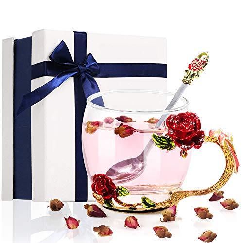 DEVIS Glas Teetasse 330ml, Becher Kaffeetassen mit Stahllöffel Personalisierte, Blumen 3D Rose Teetasse, Geschenke für Frauen Weihnachten Mutter Tag Valentinstag (Rot)