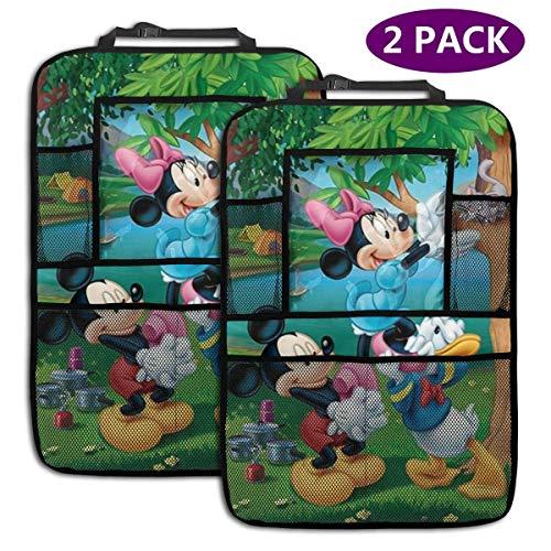 2 Pack Organisateur De Voiture Banquette Arrière - Accessoires De Voiture Mickey Minnie Donald Duck, Protecteur De Siège Arrière Kick Mats avec Support De Tablette Augmenté