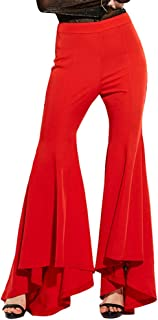 IWEMEK Women High Waisted Flounce Flare Palazzo Hippie Wide Leg Boocut Pants Stretch Capris Bell Bottom Trousers Long Bootleg