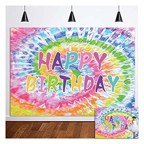 Colorful Spiral Tie Dye Happy Birthday Theme Photography Backdrops Kids Girls Rainbow Theme Happy Bady Decor Photo Background 5x3ft 60s 70s Hippie Supplies Dessert Cake Table Decor Props