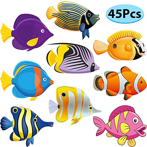 45 Pieces Fish Cut-Outs Paper Colorful Versatile Classroom Decoration Tropical Fish Accents Cutouts with Glue Dots for Bulletin Board School Fishing Ocean Themed Birthday Party Supply, 5.9 x 5.9 Inch