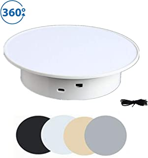 White Display 360 Degree Electric Turntable 7.78inDiameter jewelry, watches, model, for Small Product Display