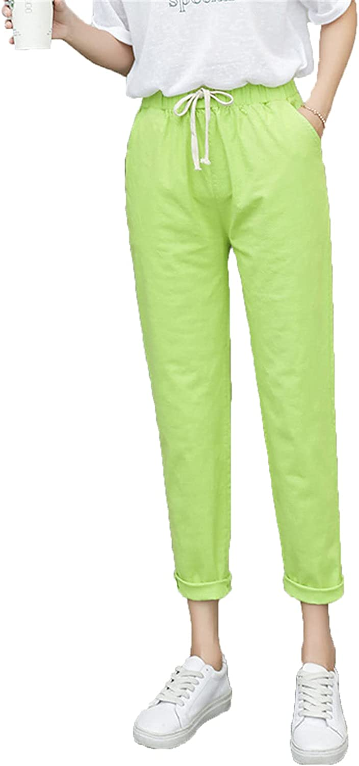 Women's Drawstring Linen Knickers High Waist Solid Loose Casual Elastic Straight Trousers Cropped Soft Flax Pants (X-Large,Green 2)