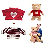 "2 pcs for Teddy Bear Clothes The Red Sweater With a Heart T-shirt and Stars Striped Sweater Fit 14""-18"" Build-a-bear Vermont Teddy Bears and Make Your Own Stuffed Animals"