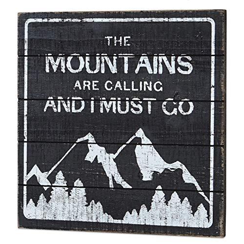 Loberon Dekoboard Mountain, MDF, H/B ca. 30/30 cm, antikschwarz