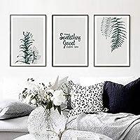 キャンバス絵画グリーンヴィンテージ植物の葉ミニマリストの人生の引用現代の壁アートプリントポスターリビングルームの家の装飾(50x70cm)3pcsフレームレス