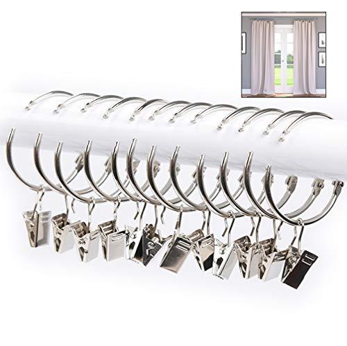 XLKJ 25 Pack Anillas para Cortinas con Pinza, Anillas con Pinzas de Metal para Colgar Cortinas y Barras Resistente Herrumbre, Fácil de Abrir y Cerrar, 38mm