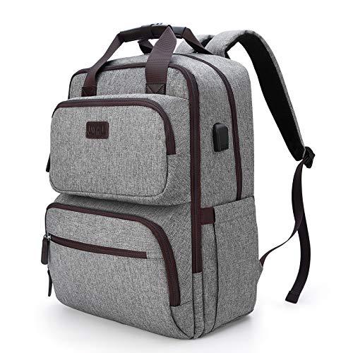 Travel Laptop Backpack, Work Bag Business Backpack with USB Charging Port for Men Women, Water Resistant Computer Bag College School Bookbag Backpack Fits 15.6 Inch Laptop, Grey