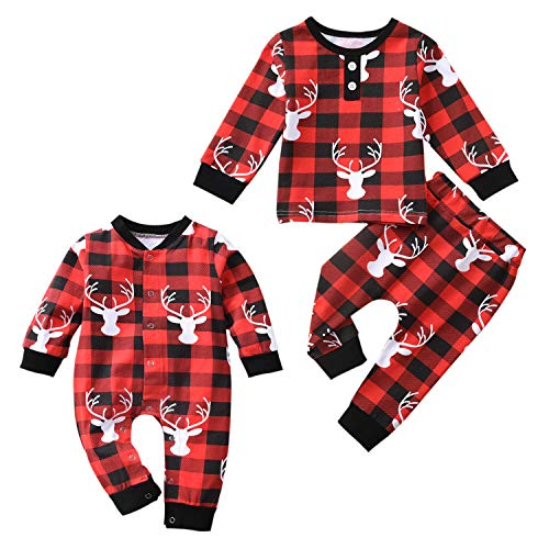 Aalizzwell Toddler Baby Boys Girls Plaid Romper Jumpsuit Pants Set for Kids Christmas Onesies Matching Outfits Fall Winter Clothes (Plaid Romper, 3-6 Months)
