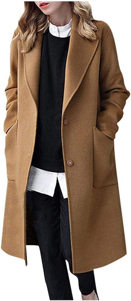 SPORTTIN Women Trench Long Coat Peacoat Lapel Open Front Long Sleeve Jacket Outwear Plus Size